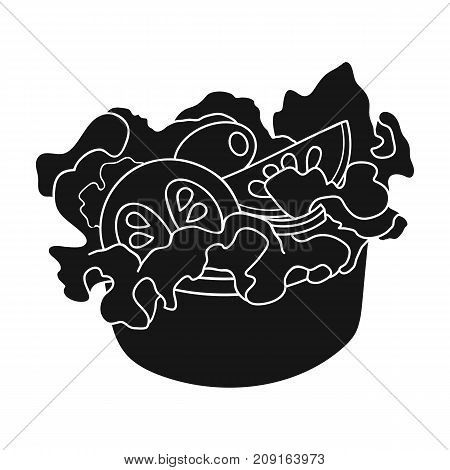 Bowl, single icon in black style.Bowl, vector symbol stock illustration .