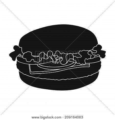 Cheeseburger, single icon in black style.Cheeseburger, vector symbol stock illustration .
