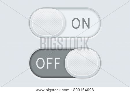 Toggle switch buttons ON and OFF. Vector 3d illustration
