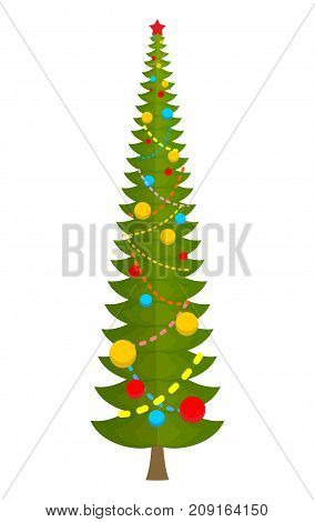 Big Christmas Tree. Huge Spruce. Large Fir. New Year Vector Illustration