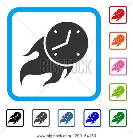 Deadline Fire icon. Flat grey pictogram symbol in a light blue rounded rectangular frame. Black, gray, green, blue, red, orange color variants of Deadline Fire vector.