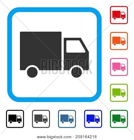 Delivery Van icon. Flat grey iconic symbol inside a light blue rounded square. Black, gray, green, blue, red, orange color versions of Delivery Van vector. Designed for web and software UI.