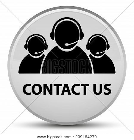 Contact Us (customer Care Team Icon) Special White Round Button