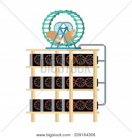 Mining Farm And Hamster In Wheel Produces Electricity. Home Mining Rig. Crypto Currency At Home. Ext