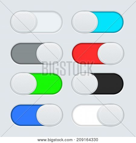 Toggle switch buttons. Colored set. Vector 3d illustration