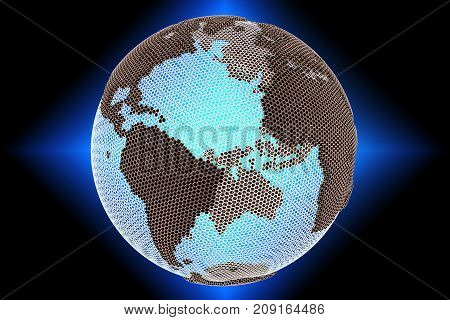 Abstract luminous hologram of the globe Earth 3D rendering