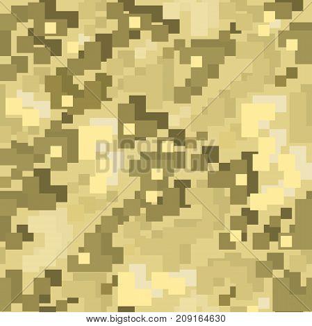 Brown pixel camo seamless pattern. Vector illustration