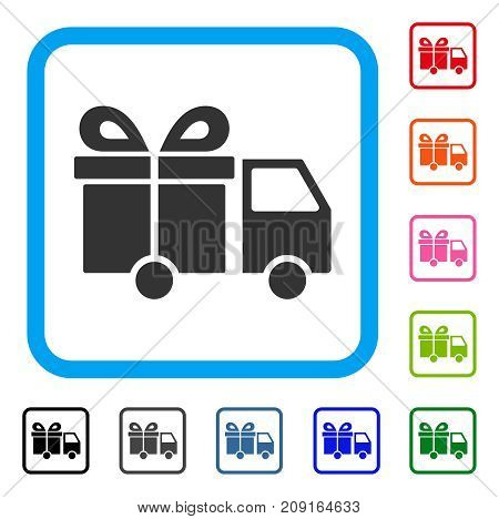 Gift Delivery Van icon. Flat grey iconic symbol in a light blue rounded squared frame. Black, gray, green, blue, red, orange color additional versions of Gift Delivery Van vector.