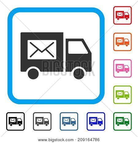 Mail Delivery Van icon. Flat grey pictogram symbol inside a light blue rounded rectangle. Black, gray, green, blue, red, orange color variants of Mail Delivery Van vector.