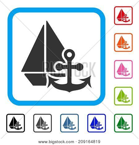Marine icon. Flat gray iconic symbol inside a light blue rounded squared frame. Black, gray, green, blue, red, orange color additional versions of Marine vector. Designed for web and app interfaces.