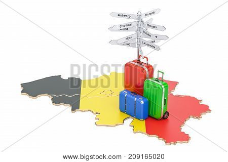 Belgium travel concept. Belgian flag on map with suitcases and signpost 3D rendering