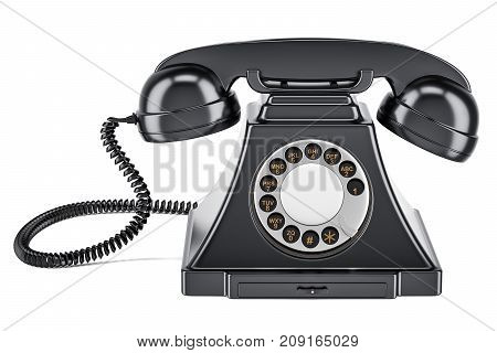 Black old-fashioned phone 3D rendering isolated on white background