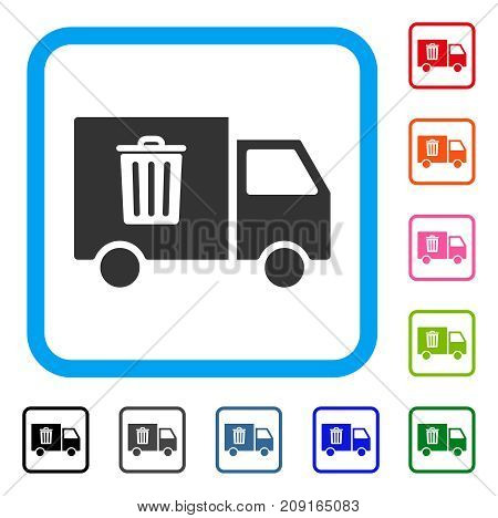 Rubbish Transport Van icon. Flat gray pictogram symbol in a light blue rounded frame. Black, gray, green, blue, red, orange color variants of Rubbish Transport Van vector.