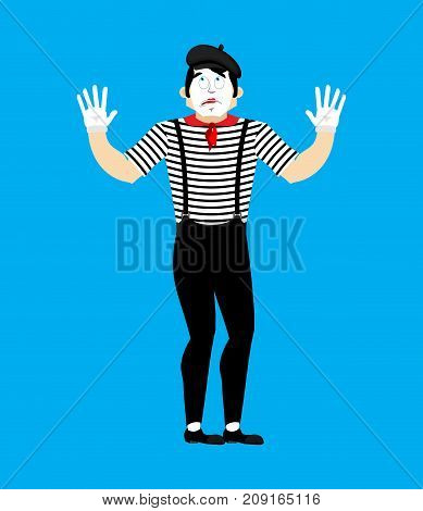 Bewildered Mime. Mixed-up Pantomime. At A Loss Mimic. Vector Illustration