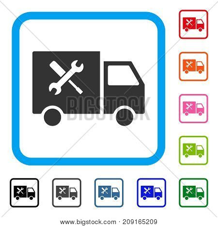 Service Car icon. Flat gray iconic symbol in a light blue rounded square. Black, gray, green, blue, red, orange color variants of Service Car vector. Designed for web and application user interface.