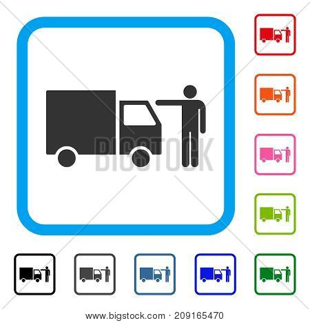 Truck Customer icon. Flat gray iconic symbol in a light blue rounded rectangle. Black, gray, green, blue, red, orange color versions of Truck Customer vector. Designed for web and app interfaces.