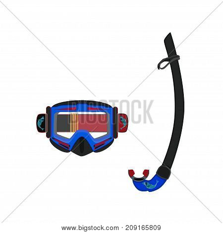 Diving mask and snorkel vector illustration isolated on white background. Flat style design.