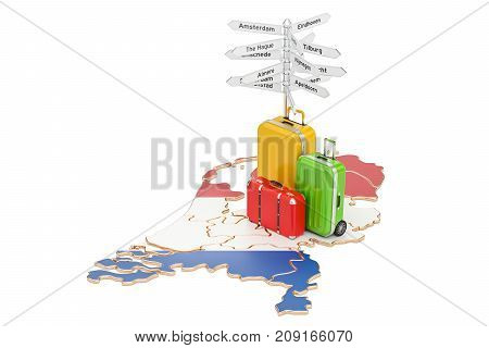 Netherlands travel concept. Holland map with suitcases and signpost 3D rendering