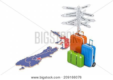 New Zealand travel concept. Map with suitcases and signpost 3D rendering