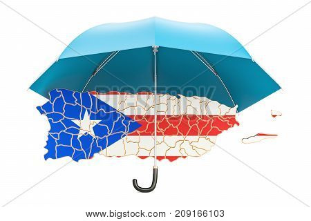 Puerto Rico map under umbrella. Security and protect  concept 3D rendering