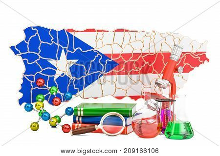Puerto Rico map with stethoscope national health care concept 3D rendering