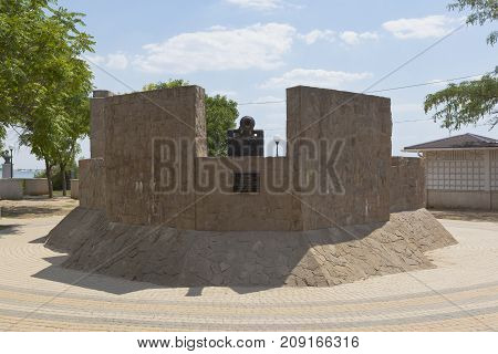 Evpatoria, Republic of Crimea, Russia - July 21, 2017: Stylized Suvorovsky redoubt on the quay named after Tereshkova in the resort town of Evpatoria