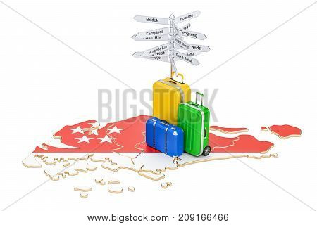Singapore travel concept. Map with suitcases and signpost 3D rendering
