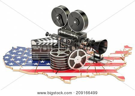 USA cinematography film industry concept. 3D rendering isolated on white background