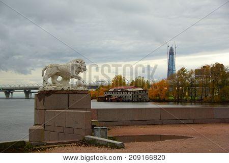 Evening in October walk along Elagin Island in St. Petersburg