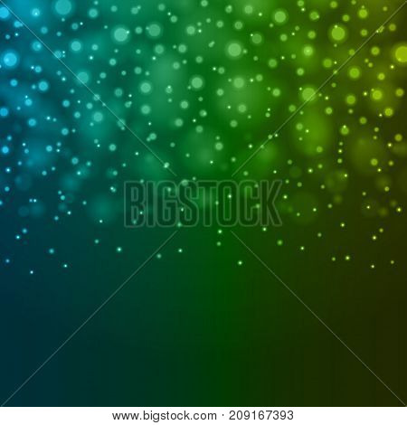 Abstract Light Blue Green Bokeh Background Vector Illustration. Magic Defocused Glitter Sparkles. Good for promotion materials, Brochures, Banners. Abstract Backdrop.