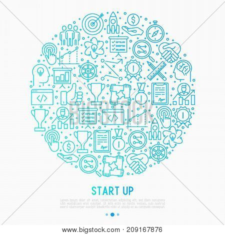 Start up concept in circle with thin line icons of development, growth, success, idea, investment. Vector illustration for banner, web page, print media with place for text.