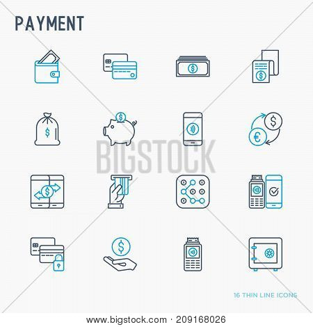 Payment thin line icons set: credit card, money flow, saving, atm, mobile payment. Vector illustration.