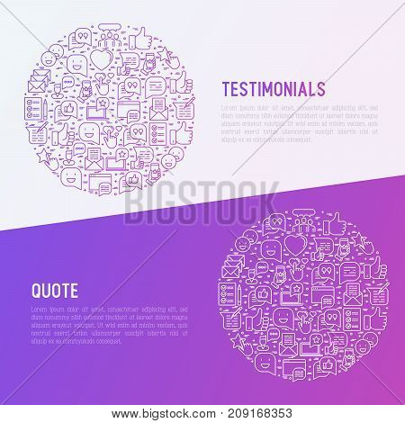 Testimonials and quote concept in circle with thin line icons of review, feedback, survey, comment. Vector illustration for banner, web page, print media.