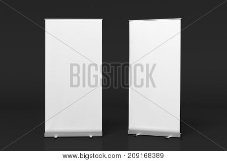 Blank White Roll Up Banner Stand