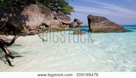 White-sand lagoon with blue water, Thailand, tropical beach