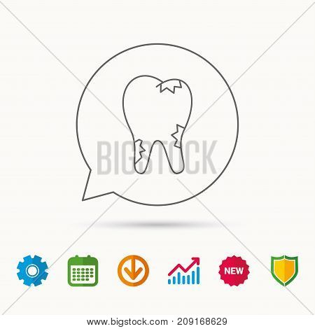Caries Icon. Tooth Health Sign. Calendar, Graph Chart And Cogwheel Signs. Download And Shield Web Ic