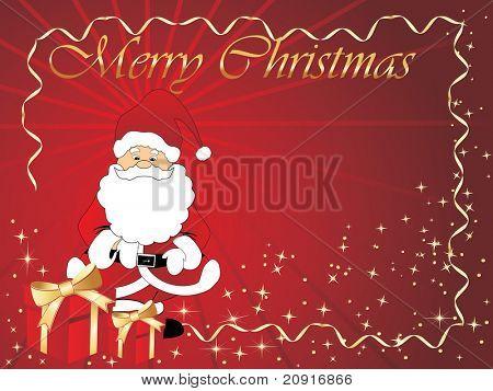 christmas vector frame with santa claus