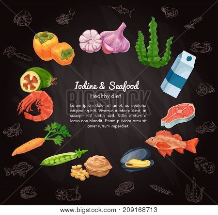 Organic food and seafood vector sketch colorful banner, persimmon, feijoa, sea bass, milk, carrot, garlic, walnut, salmon steak, pea, mussel, shrimp, seaweed