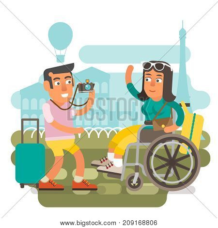 Differently abled girl on wheelchair traveling with boyfriend