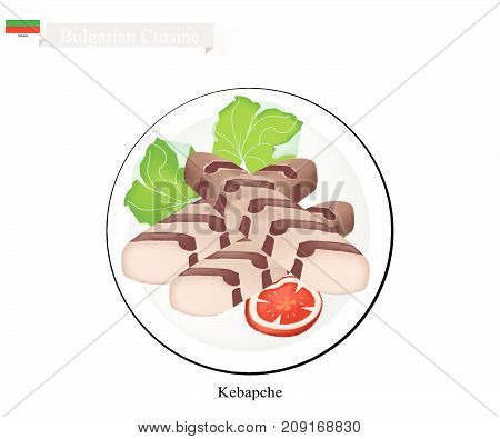 Bulgarian Cuisine, Illustration of Kebapche or Traditional Roasted Meat Patties Steak of Pork, Beef and Lamb. One of The Most Famous Dish in Bulgaria.