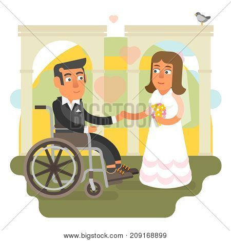 Differently abled husband on wheelchair in wedding