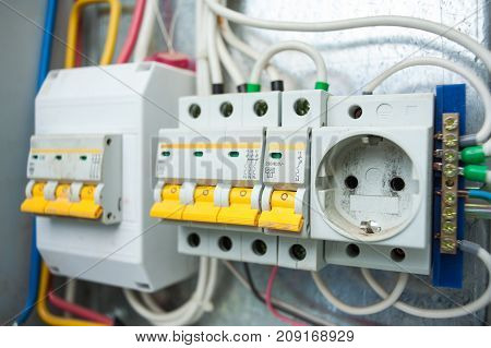 Electrical panel. Switches and sockets in the electric shield