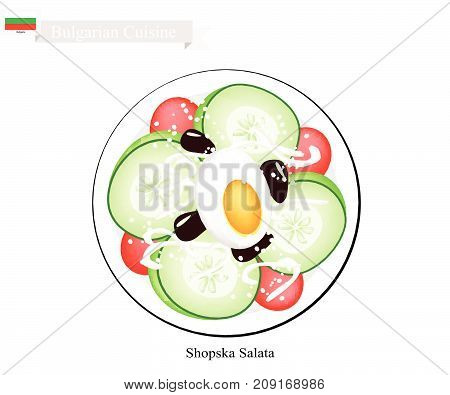 Bulgarian Cuisine, Illustration of Shopsky Salad or Shopska Salata Made of Tomatoes, Cucumbers, Olive, Boiled Egg and Feta Cheese. One of The Most Famous Dish in Bulgaria.