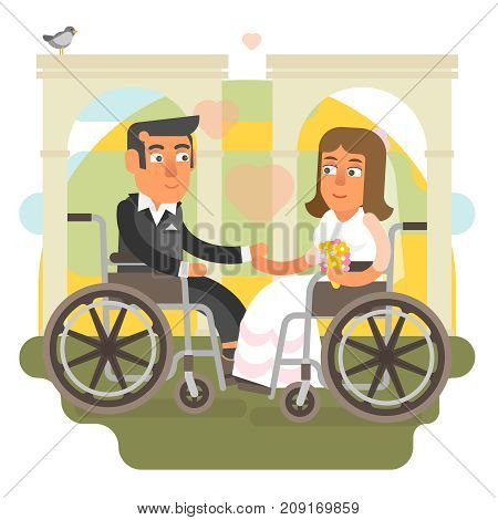 Differently abled couple on wheelchair getting married