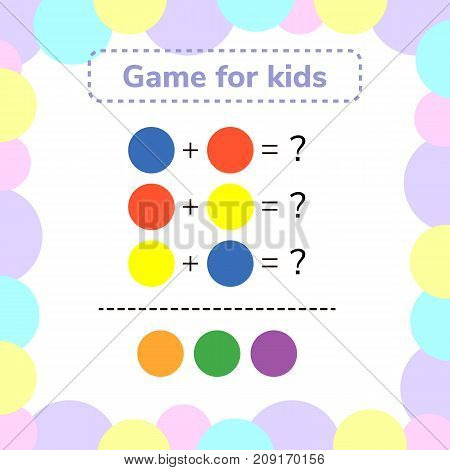 vector illustration. game for preschool kids. rebus for children. find the right answer. color mixing.