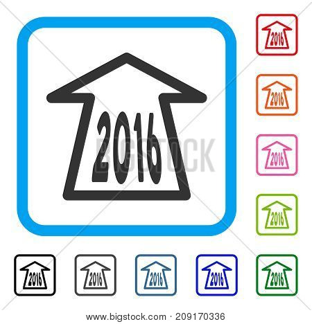 2016 Ahead Arrow icon. Flat gray iconic symbol inside a light blue rounded rectangular frame. Black, gray, green, blue, red, orange color additional versions of 2016 Ahead Arrow vector.