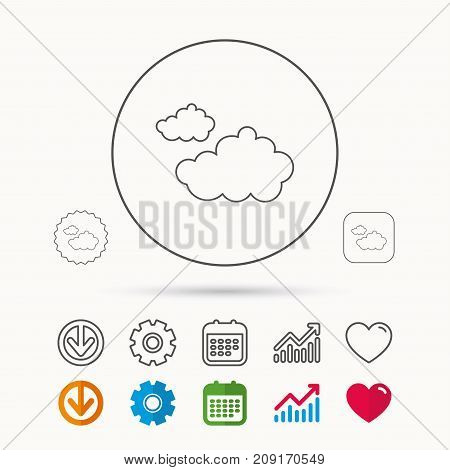 Cloudy Icon. Overcast Weather Sign. Meteorology Symbol. Calendar, Graph Chart And Cogwheel Signs. Do
