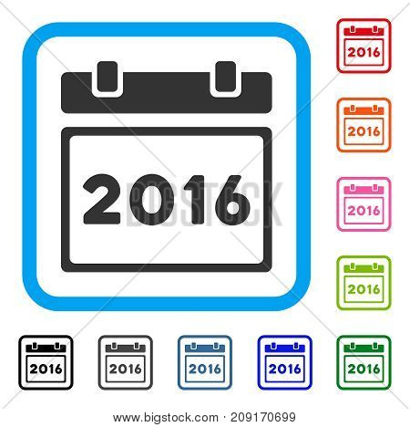 2016 Calendar icon. Flat grey iconic symbol in a light blue rounded rectangle. Black, gray, green, blue, red, orange color additional versions of 2016 Calendar vector.