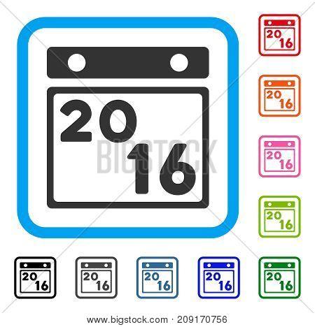 2016 Calendar icon. Flat grey pictogram symbol inside a light blue rounded rectangular frame. Black, gray, green, blue, red, orange color additional versions of 2016 Calendar vector.