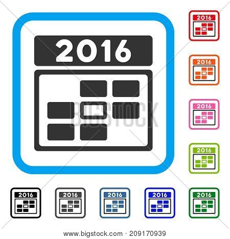 2016 Date icon. Flat grey iconic symbol inside a light blue rounded squared frame. Black, gray, green, blue, red, orange color variants of 2016 Date vector. Designed for web and software interfaces.